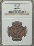 1849 1C N-12, R.1, MS64 Red and Brown NGC....(PCGS# 405665)