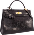 "Luxury Accessories:Bags, Hermes 32cm Shiny Black Alligator Sellier Kelly Bag with GoldHardware . Very Good Condition . 12.5"" Width x 9""Height..."