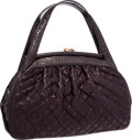 "Luxury Accessories:Bags, Louis Vuitton Aubergine Alligator & Monogram Vienna Leather SacFermoir GM Bag . Excellent Condition . 15"" Width x10""..."