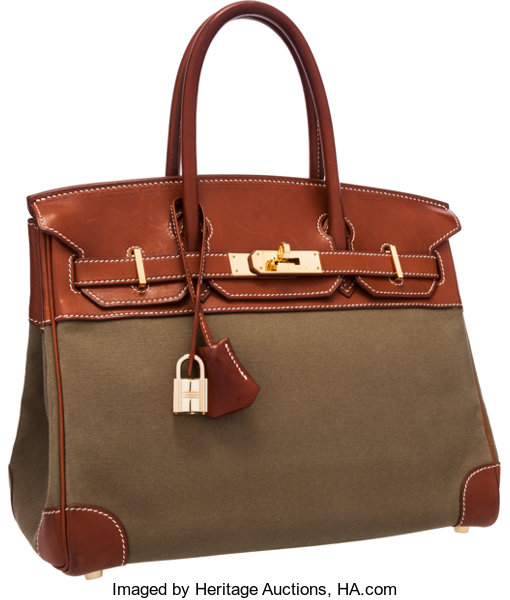 2cf47789c2 Hermes 30cm Natural Barenia Leather   Canvas Birkin Bag