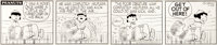 Charles Schulz Peanuts Daily Comic Strip Original Art dated 1-25-57 (United Feature Syndicate, 1957)