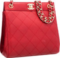 "Luxury Accessories:Bags, Chanel Red Quilted Leather Shoulder Bag with Gold Hardware.Excellent Condition . 7"" Width x 7.5"" Height x 3""Depth..."