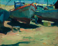 Fine Art - Painting, American:Modern  (1900 1949)  , ARMIN HANSEN (American, 1886-1957). Dry Dock. Oil on canvas.16 x 20 inches (40.6 x 50.8 cm). Signed lower right: Armi...