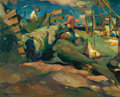Fine Art - Painting, American:Modern  (1900 1949)  , ARMIN HANSEN (American, 1886-1957). Shark Fishers. Oil oncanvasboard. 16 x 20 inches (40.6 x 50.8 cm). Signed lower lef...