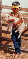 Paintings, RAY SWANSON (American, 1937-2004). Mr. Begay's Baby Goat, 1989. Oil on canvas laid on masonite. 24 x 12 inches (61.0 x 3...