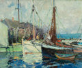 Fine Art - Painting, American:Modern  (1900 1949)  , HARRY AIKEN VINCENT (American, 1864-1931). A Fish Buyers'Wharf. Oil on canvas. 25 x 30-1/4 inches (63.5 x 76.8 cm).Sig...
