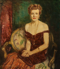 HOWARD CHANDLER CHRISTY (American, 1872-1952) Portrait of a Lady, 1950 Oil on canvas 39-1/4 x 34