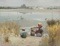MIAN SITU (Chinese/American, b. 1953) Collecting Water Oil on canvas 14 x 18 inches (35.6 x 45.7
