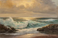 Fine Art - Painting, American:Contemporary   (1950 to present)  , ROBERT WILLIAM WOOD (American, 1889-1979). Rocky Coast,1957. Oil on canvas. 24 x 36 inches (61.0 x 91.4 cm). Signed and...
