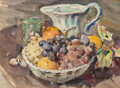 Works on Paper, CLARENCE K. HINKLE (American, 1880-1960). Still Life with Fruit and Pitcher. Watercolor on paper. 11-1/4 x 15-1/4 inches...