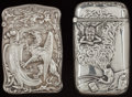 Silver Smalls:Match Safes, TWO BATTIN SILVER MATCH SAFES, Newark, New Jersey, circa 1900.Marks to both: STERLING, (trident with B), 246; 116STE... (Total: 2 )