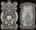 Silver Smalls:Match Safes, TWO BATTIN SILVER HIDDEN PHOTO MATCH SAFES, Newark, New Jersey,circa 1900. Marks: PAT. MARCH 1896, STERLING B 173; B 179...(Total: 2 Items)