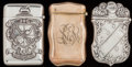 Silver Smalls:Match Safes, THREE BATTIN SILVER, SILVER GILT AND ENAMEL MATCH SAFES, Newark,New Jersey, circa 1900. Marks to all: STERLING, (triden...(Total: 3 Items)