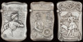 Silver Smalls:Match Safes, THREE AMERICAN SILVER MATCH SAFES, circa 1900. Marked to all:STERLING. 2-3/8 inches high (6.2 cm) (largest). 1.65 troy... (Total: 3 )