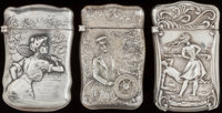 THREE AMERICAN SILVER MATCH SAFES, circa 1900 Marked to all: STERLING 2-3/8 inches high (6.2 cm) (la