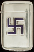 Silver Smalls:Match Safes, A PAYE & BAKER SILVER AND ENAMEL MATCH SAFE, North Attleboro,Massachusetts, circa 1900. Marks: STERLING, P&B(in he...