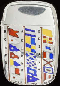 AN AMERICAN SILVER, SILVER GILT AND ENAMEL MATCH SAFE, circa 1900 Marks: STERLING 2-3/8 i