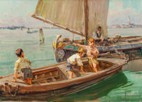 ANGELO BROMBO (Italian, 1893-1962) Young Fishermen in Training Oil on canvas 20 x 28 inches (50.8