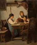 Fine Art - Painting, European:Antique  (Pre 1900), CARL ROBICZEK (German, 1839-1918). The Mischief, 1873. Oilon canvas. 14-1/2 x 11-3/4 inches (36.8 x 29.8 cm). Signed an...