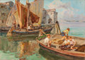Paintings, ANGELO BROMBO (Italian, 1893-1962). Admiring the Day's Catch. Oil on canvas. 20 x 28 inches (50.8 x 71.1 cm). Signed wit...