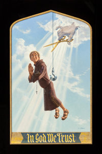 BIRNEY LETTICK (American, 1919-1986) In God We Trust, movie poster art, 1980 Oil on board mounted to