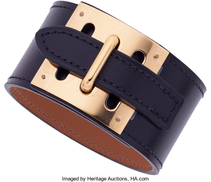 Luxury Accessories Hermes Black Tadelakt Leather Intense Bracelet With Gold Hardware Pristine