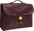 Luxury Accessories:Bags, Hermes 40cm Miel Shiny Porosus Crocodile Sac a Depeches DoubleGusset Briefcase with Gold Hardware. Good Condition.15...