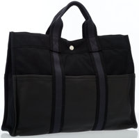 Hermes Black Clemence Leather & Canvas Fourre Tout Tote Bag with Palladium Hardware