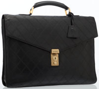 Chanel Black Quilted Lambskin Leather Briefcase with Gold Hardware