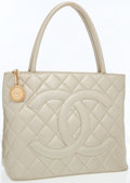 Luxury Accessories:Bags, Chanel Metallic Champagne Leather Medallion Tote Bag with GoldHardware . ...