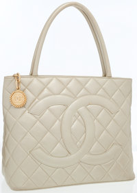 Chanel Metallic Champagne Leather Medallion Tote Bag with Gold Hardware