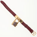 Luxury Accessories:Accessories, Hermes Rouge H Chevre Leather Kelly Watch with Gold Hardware . ...