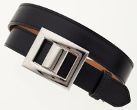 Hermes 90cm Black Calf Box Leather Belt with Palladium Hardware