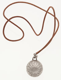 Hermes Natural Berenia Leather & Palladium Sphere Locket Necklace