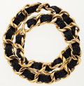 Luxury Accessories:Accessories, Chanel Gold & Navy Blue Leather Woven . ...
