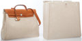 Luxury Accessories:Bags, Hermes Natural Barenia Leather & Toile Herbag MM Bag withPalladium Hardware. ...