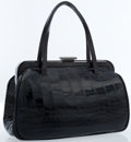 Luxury Accessories:Bags, Prada Black Alligator Doctor Bag with Gunmetal Hardware. ...
