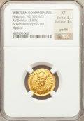 Ancients:Roman Imperial, Ancients: Honorius, Western Roman Emperor (AD 393-423). AV solidus(3.89 gm)....