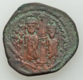 Ancients:Ancient Lots  , Ancients: Heraclius (AD 610-641), with Heraclius Constantine and Martina. Lot of three (3) Æ folles.... (Total: 3 items)