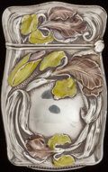 Silver Smalls:Match Safes, AN AMERICAN SILVER AND ENAMEL MATCH SAFE, Maker unidentified, circa1890. Marks: EP, STERLING. 2-1/2 inches high (6....