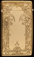 Silver Smalls:Other , A WOODS & CHATELLIER 14K GOLD AND SAPPHIRE CARD CASE, New York,New York, circa 1900. 3-1/8 inches high (7.9 cm). 1.35 t...