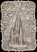 Silver Smalls:Other , A NATHANIEL MILLS VICTORIAN SILVER CARD CASE, Birmingham, England,circa 1844-1845. Marks: (lion passant), (anchor), (duty m...
