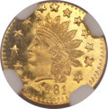 California Fractional Gold, 1881 50C Indian Round 50 Cents, BG-1069, High R.4, MS66 DeepProoflike NGC....
