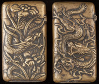 TWO JAPANESE BRASS MATCH SAFES, circa 1890 2-1/2 inches high (6.4 cm)  FROM THE ESTATE OF JOHN O. ANTONELLI<
