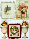 Miscellaneous:Postcards, [Postcards]. Group of Five New Year Greetings. Various publishers.[n.d., ca. 1900]. One used with some glue residue on ...