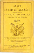Books:Americana & American History, [Almanac]. Ayer's American Almanac. Lowell, J.C. Ayer,[1862]. Twelvemo. Publisher's printed wrappers. Some toning a...
