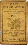 Books:Americana & American History, [Almanac]. Ayer's American Almanac. Lowell, J.C. Ayer,[1861]. Twelvemo. Publisher's printed wrappers. Some foxing, ...