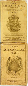 Books:Americana & American History, [Almanac]. Group of Two Copies of Ayer's American Almanac.Lowell, J.C. Ayer, [1870, 1871]. Twelvemos. Publisher's p...(Total: 2 Items)
