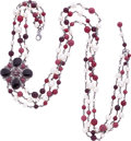 """Luxury Accessories:Accessories, Chanel Burgundy Gripoix & Glass Pearl Triple Strand Necklace. Excellent Condition. 2.5"""" Pendant Width x 42"""" Length ..."""