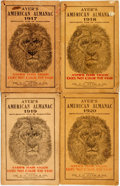 Books:Americana & American History, [Almanac]. Group of Four Copies of Ayer's American Almanac.Lowell, J.C. Ayer, [1917-1920]. Twelvemos. Publisher's p... (Total:4 Items)
